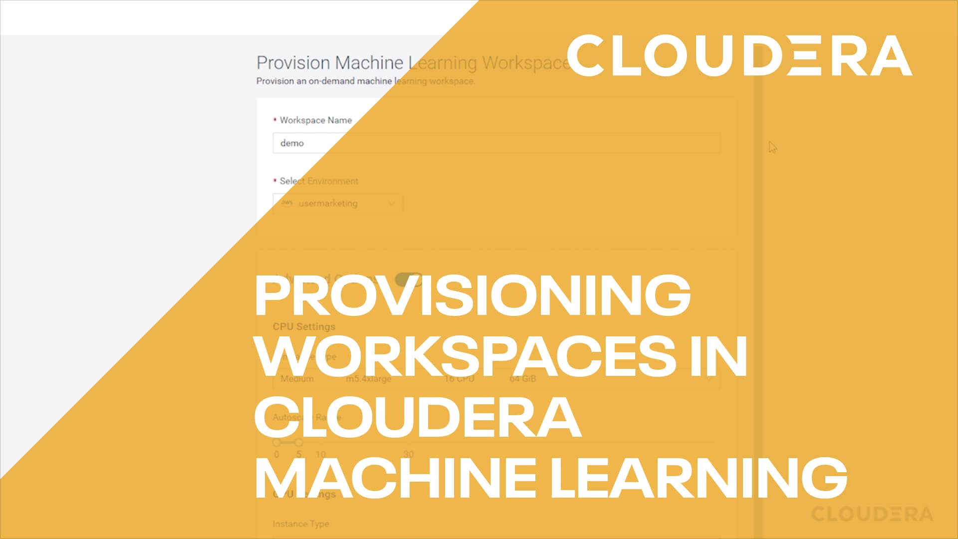 Provisioning workspaces in ML video