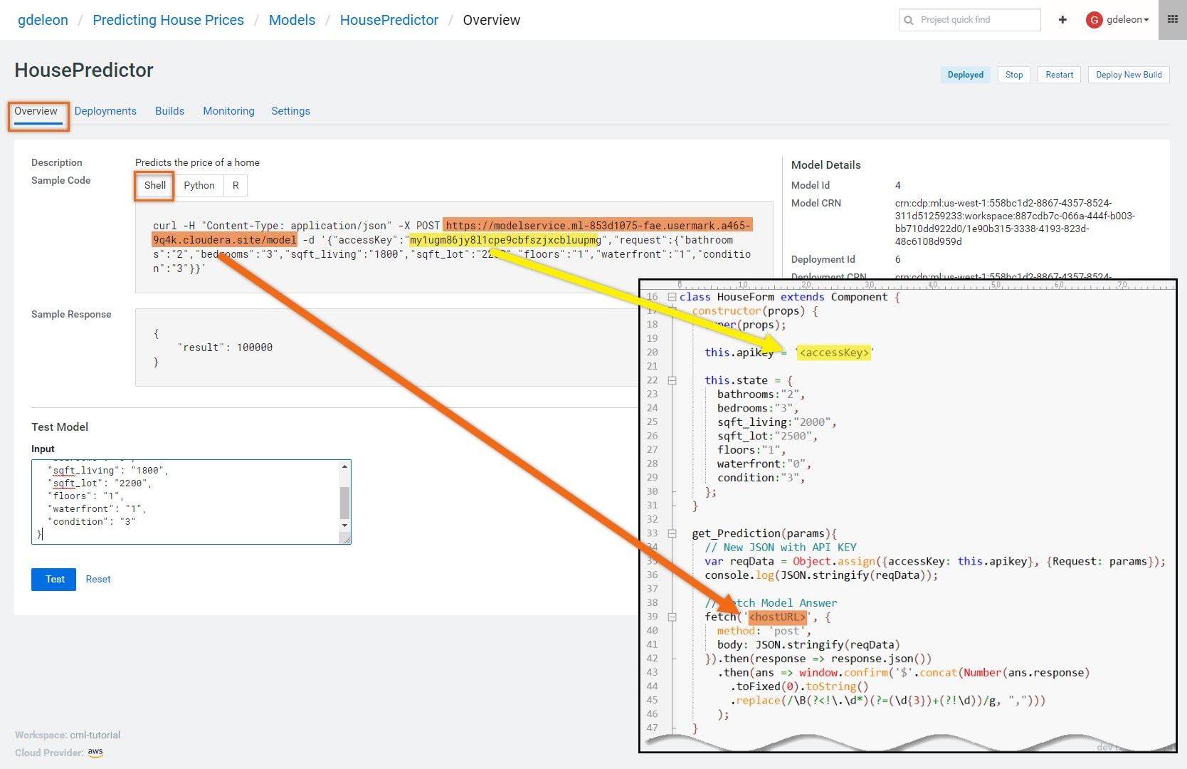Build, Deploy and Access a Model in Cloudera Machine Learning